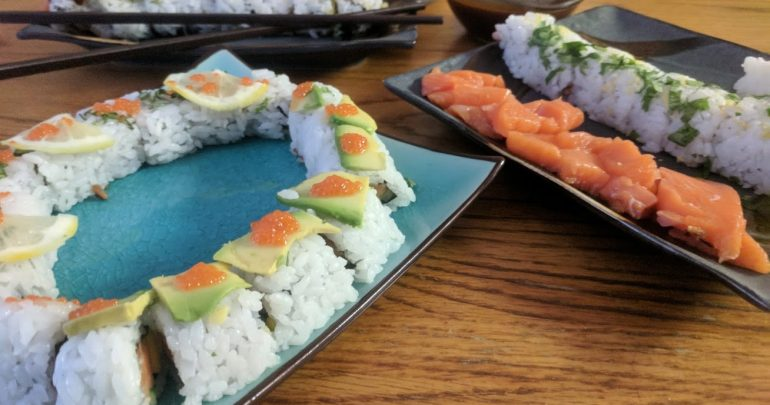 Chinook salmon sushi rolls